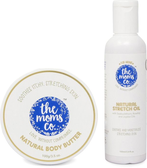 The Moms Co. Natural Stretch Bio Oil 100Ml And Natural Body Butter 100G For Preventing Stretch Marks 200 G