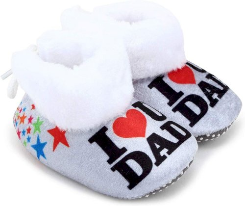 Basics21 Baby Girls And Baby Boys Ankle Length With Heart Print Soft Base Booties Toe To Heel Length - 12 Cm, Grey