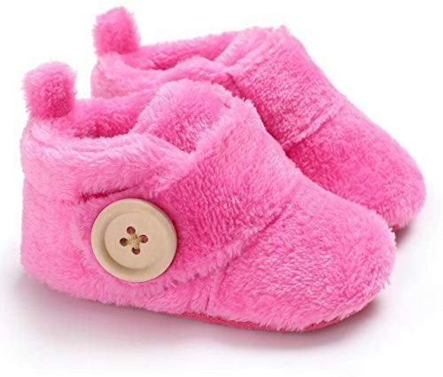 Basics21 Baby Girls And Baby Boys Velvet Soft Base Booties/ Shoes With Wooden Button-100% Mercerised Cotton-Size-3 To 12 Month-Blue Booties Toe To Heel Length - 12 Cm, Dark Pink