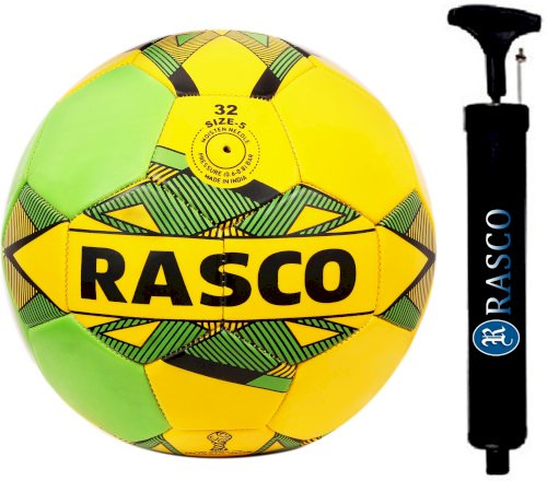 Rasco Brazil Machine Stitched Football With Black Pump 28 Cm Size 5 Football - Size: 5 Pack Of 2, Multicolor