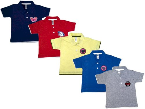 Manzon Boys & Girls Solid Cotton Blend T Shirt Multicolor, Pack Of 5