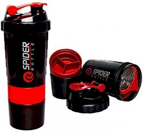 Spider Smart Protein Shaker Bottle For Gym With 2 Storage Extra Compartment 500 Ml Shaker Pack Of 1, Red, Plastic