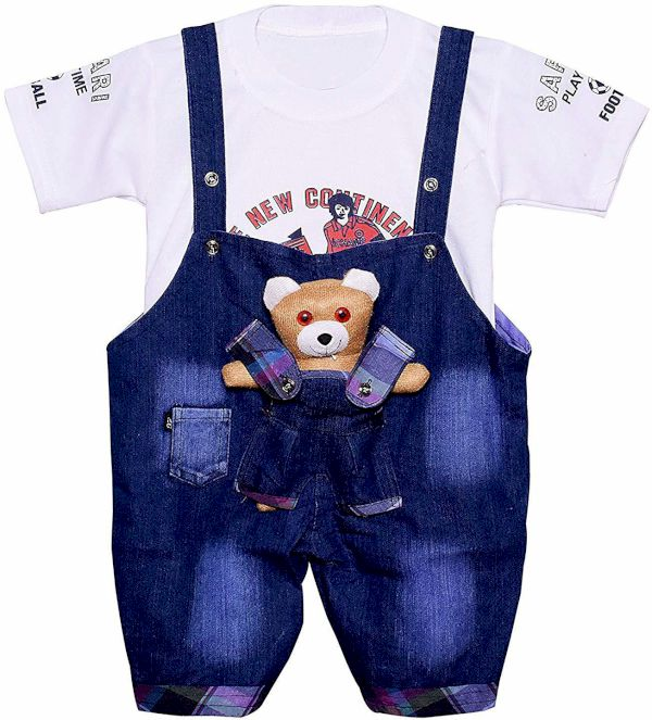 Jinie Dungaree For Boys & Girls Solid Denim Blend Blue, Pack Of 1