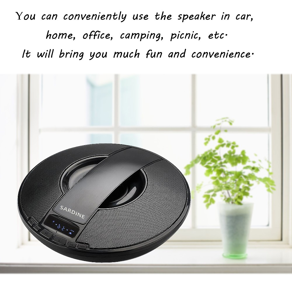Sardine Airship SDY-021 HiFi Bluetooth Stereo Audio Speaker Music Player with FM Radio + Alarm Clock 8W Output Supports BT AUX USB-Drive & SD Card Super Rich Bass