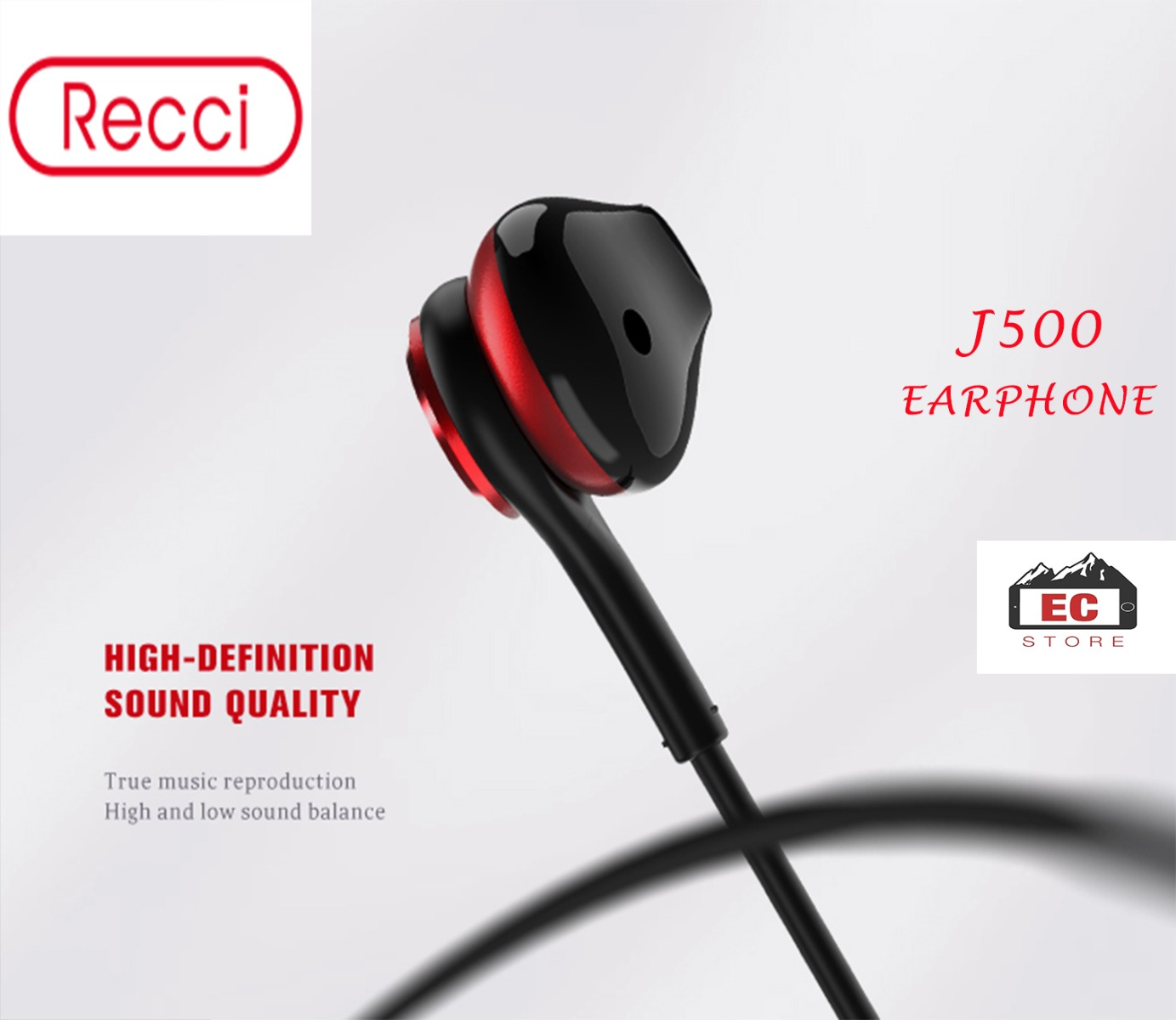 Recci Design J500 Waterproof  Wired 3.5mm Earbud,HD Voice Call, Rich Bass Suitable For Call,Music & Gaming