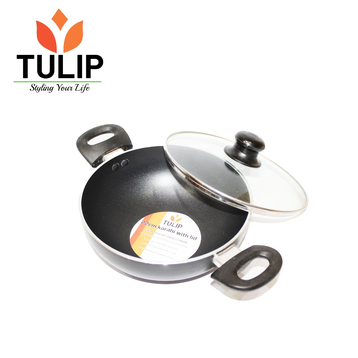 TULIP 24CM Non Stick Kadhai With Glass Lid - Black