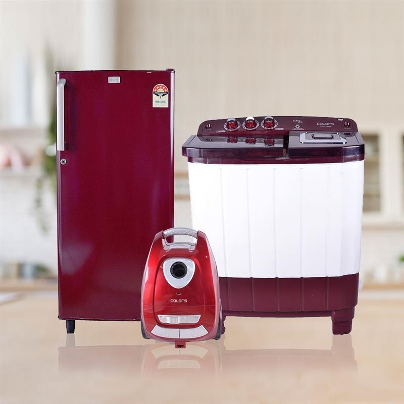 Combo Of Colors 170L Refrigerator , Colors Vaccum Cleaner And 6.8 Kg Semi Automatic Washing Machine