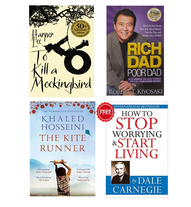 Buy 3 Get 1 FREE Rich Dad Poor Dad, To Kill A Mocking Bird, The Kite Runner, How To Stop Worrying and Start Living