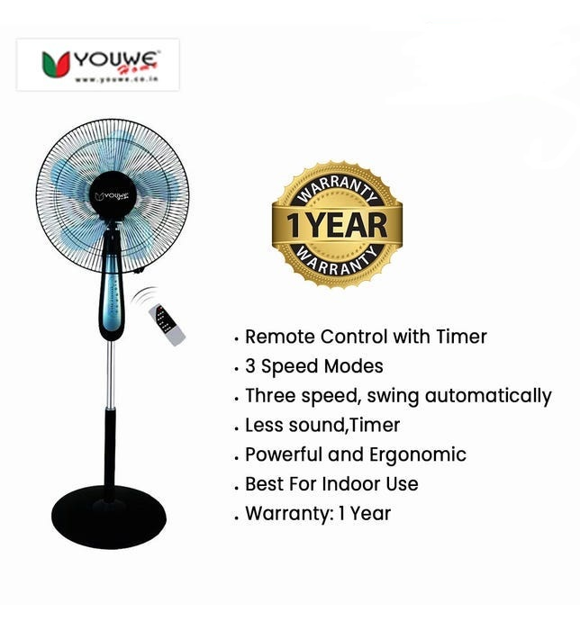 Youwe Stand Fan with Timer & Remote YW-RS-88