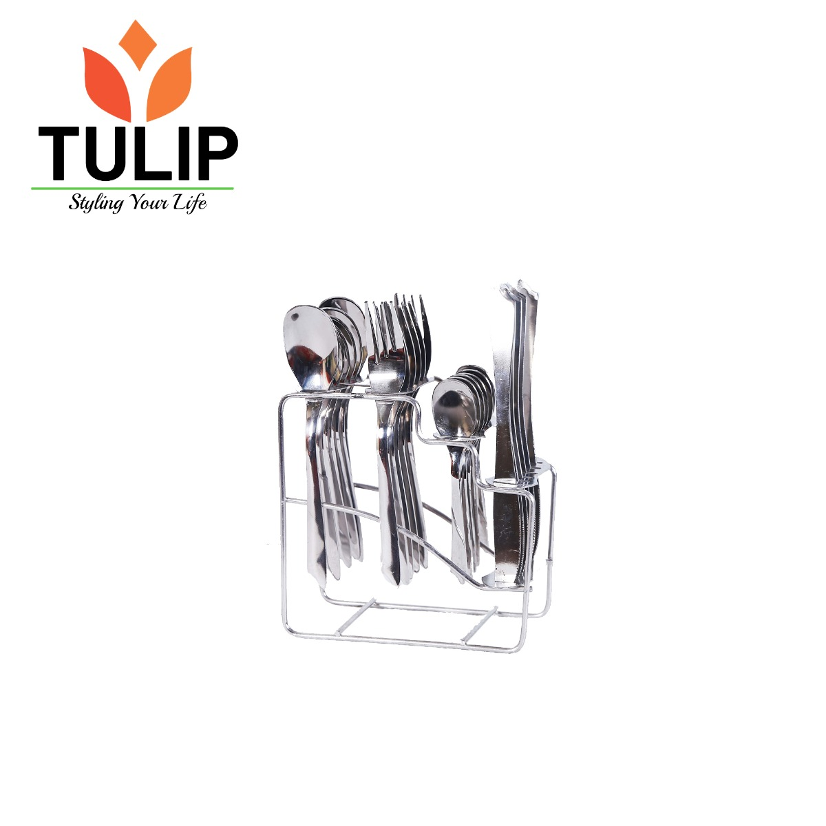 Tulip Steel Cutlery Set with Stand - FANTACY