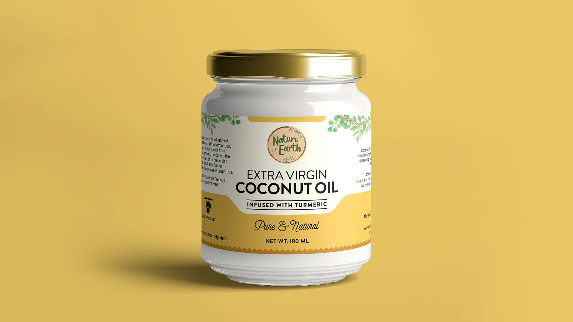 Organic Cold Pressed Extra Virgin Coconut Oil With Turmeric 180Ml