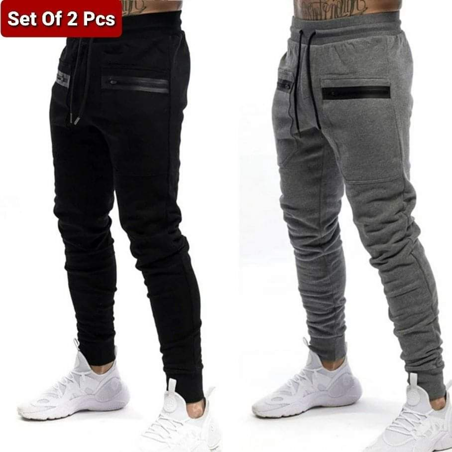 Set Of 2 Piece Trousers (Black + Grey)