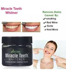 Miracle Teeth Whitener Natural Whitening Coconut Charcoal Powder Gentle On Teeth And Gums And Removes Stains Caused By Smoking, Coffee, Soda, Red Wine And More - As Seen On Tv