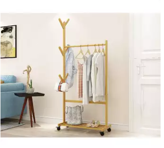 House Of Quirk Single Rail Bamboo Garment Rack With 6 Side Hook Tree Stand Coat Hanger And Four Stable Leveling Feet For Jacket, Umbrella, Clothes, Hats, Scarf, And Handbags